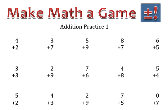 Addition Practice Worksheets Make Math a Game – Addition Worksheets for 2nd Graders