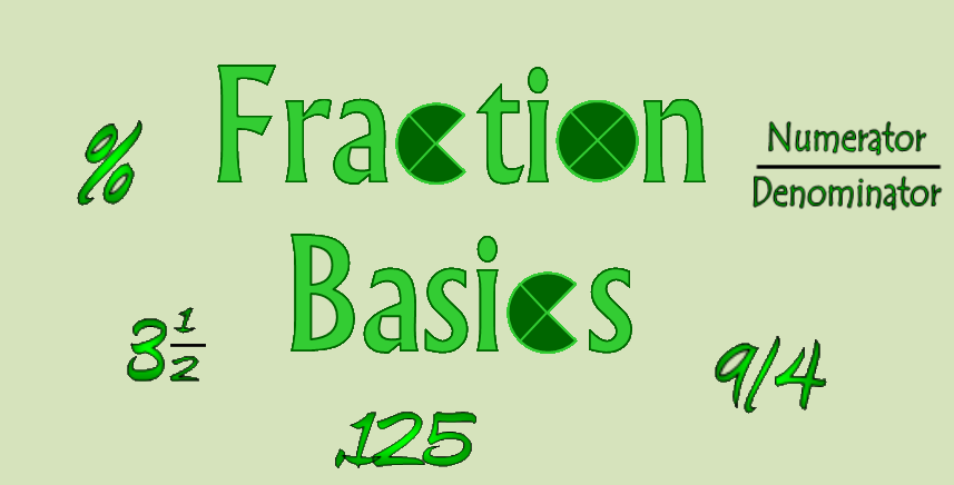 fractions, fraction, coolmath, mixed number, improper fractions, percent, decimal